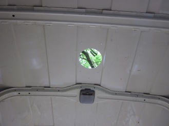 The hole cut for the vent
