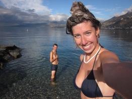 Swimming in Lake Geneva, Switzerland in December