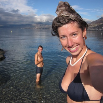 Swimming in Lake Geneva, Switzerland in December