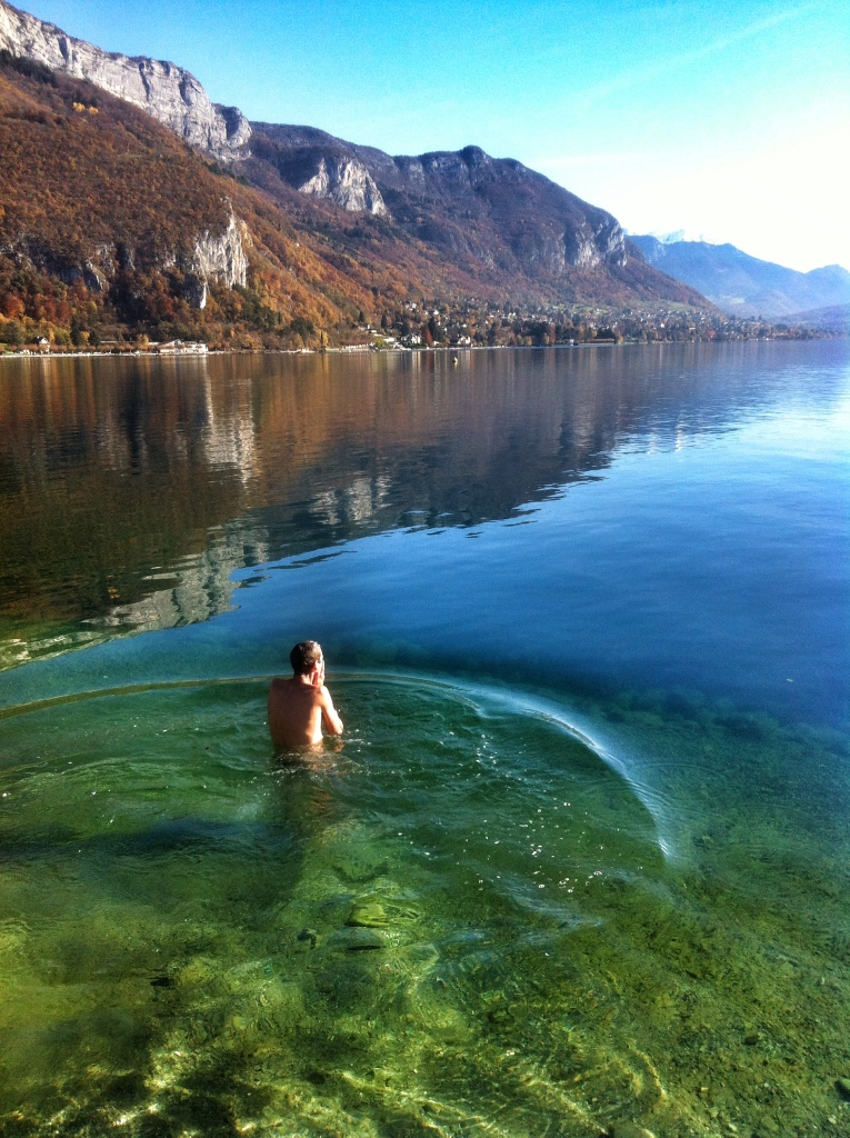 Swimming in Lake Annecy on a crisp winters day.