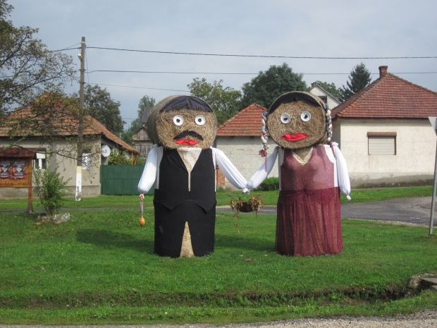 The hay-barrel people that greeted us as we entered and exited villages.