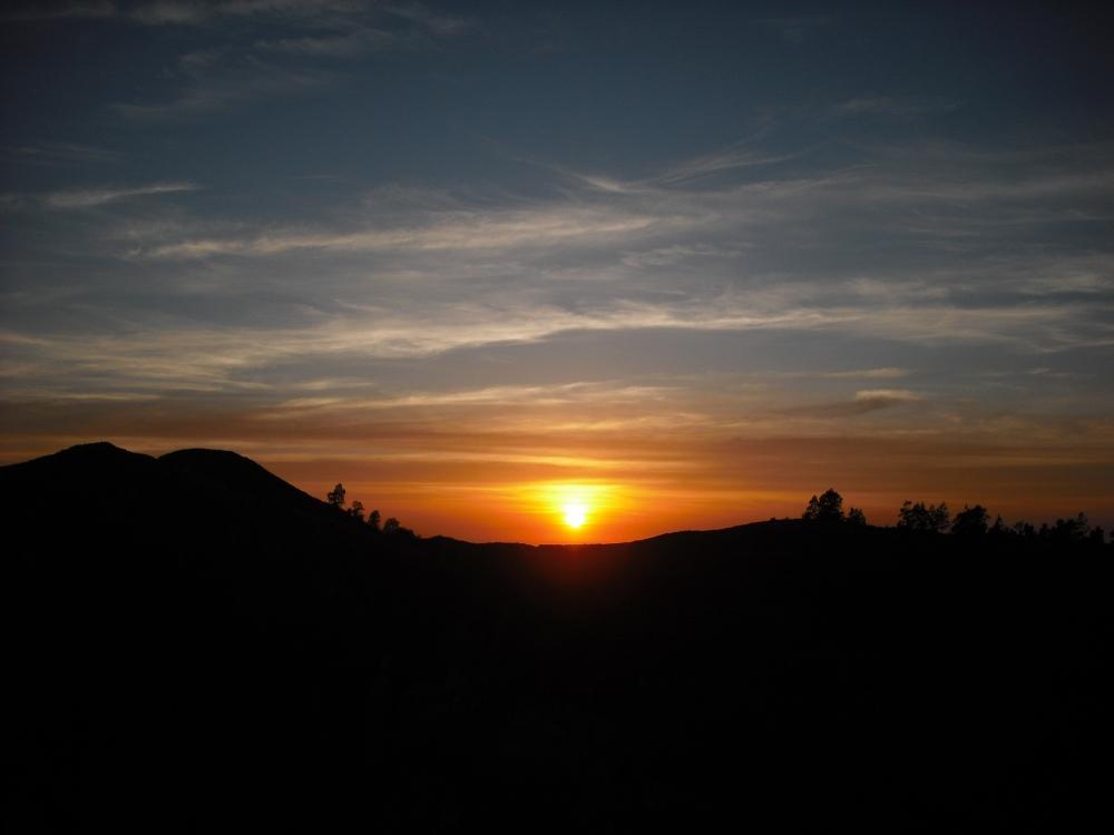 Sunrise over the crater rim